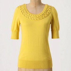 Anthropologie Moth Lundin Links Yellow Sweater szM
